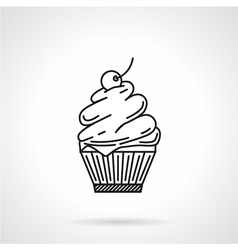 Cream dessert black line icon vector