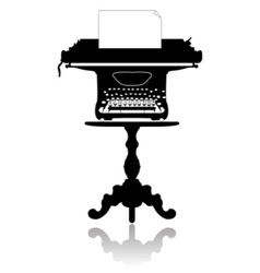 Typewriter on the coffee table vector