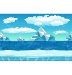 Cartoon winter landscape with ice and snow for vector