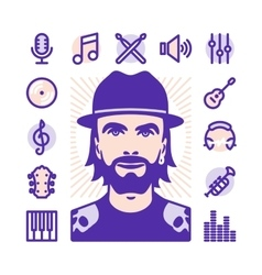 Musician icons vector