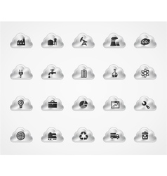 Set of industrial icons on metallic clouds vector