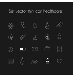 Set thin icon healthcare vector