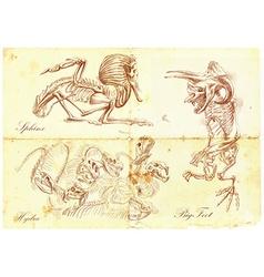 An hand drawn sphinx bigfoot hydra vector