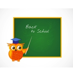 Back to school with smart owl near blackboard vector