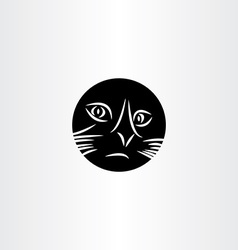 black cat face circle icon symbol vector image vector image