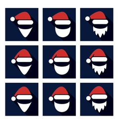 christmas flat icon set of santa vector image vector image