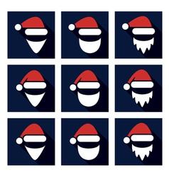 christmas flat icon set of santa vector image vector image