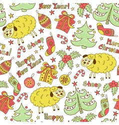 Christmas seamless pattern with animals sheep vector image