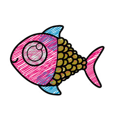 Color pencil drawing of fish with big eye vector