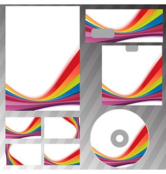 Corporate style rainbow swoosh line template vector