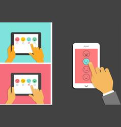 emoticons scale satisfaction mobile survey vector image vector image