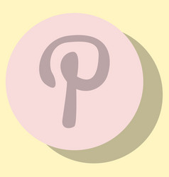 Flat icon of pinterest on background with shadow vector