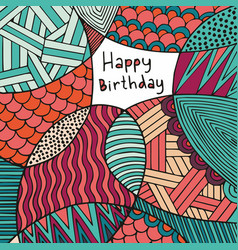 Happy birthday card hand drawing colorful vector