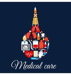 Medical care poster of enema syringe symbol vector image vector image