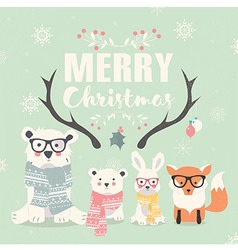 Merry christmas card bears rabbit fox antlers vector