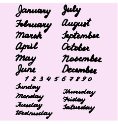 Names days of the week and months vector