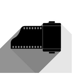 Old photo camera casset sign black icon vector
