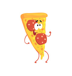 pizza cartoon fast food character element for vector image