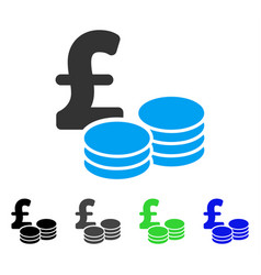 Pound coins flat icon vector