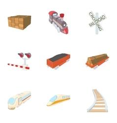 Railroad icons set cartoon style vector