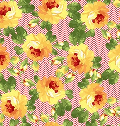 Seamless floral patter with yellow roses vector