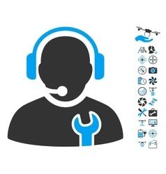 Service operator icon with air drone tools bonus vector