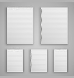 Set blank realistic spiral notepad vector