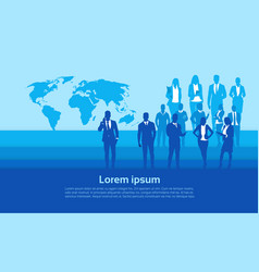 silhouette businesspeople group over world map vector image