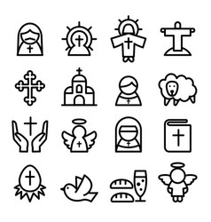 Thanksgiving easter god christian icon set in vector