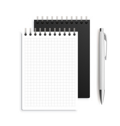 Two spiral notebook and white ballpoint pen vector