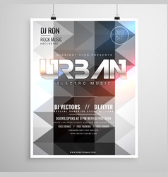 urban music party flyer template with abstract vector image