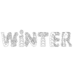 Winter inscription coloring vector image vector image