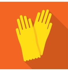 Yellow glove for hygiene cleaning vector