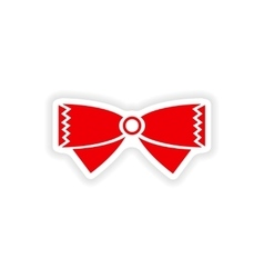 Stylish paper sticker on white background bow-tie vector