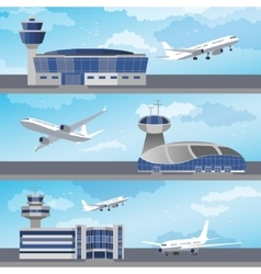 Airport building with control tower vector