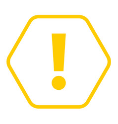 Yellow hexagon exclamation mark icon warning sign vector