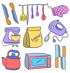 Art kitchen set doodles style vector