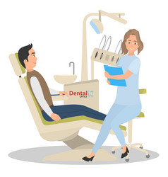 Patient on reception in the office of a dentist vector