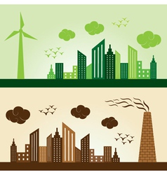 Eco and polluted city concept background stock vec vector