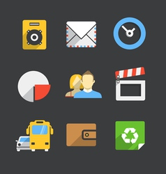 Trendy modern color web interface icons collection vector