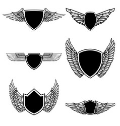 Set of emblems with wings isolated on white vector