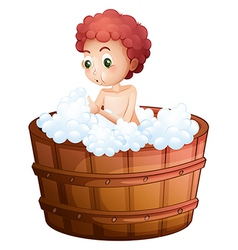 A young man taking a bath vector