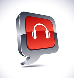 Headphones 3d balloon button vector