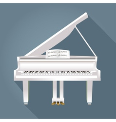 Piano with notes of white on a gray background vector