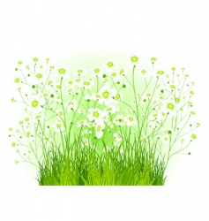 Green bush with white flowers vector