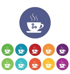 Coffee cup icons colored set vector
