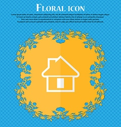 House floral flat design on a blue abstract vector