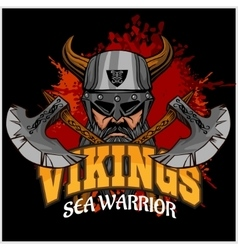 Viking warrior and crossed axes vector