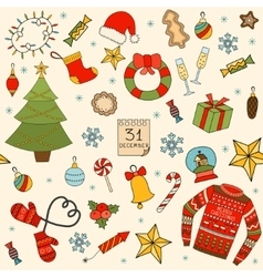 Winter and christmas seamless pattern hand drawn vector