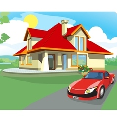 Red car and home vector